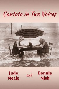 cover of Cantata in Two Voices shows two women at a table on the beach with waves lapping at their feet.