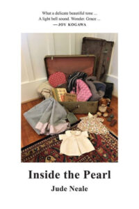 The cover shows an old fashioned open suitcase with children's clothes from the 1940s strewn about as well as books and a teddy bear. It is evocative of the things Joy Kogawa may have taken to internment camp in World War Two.